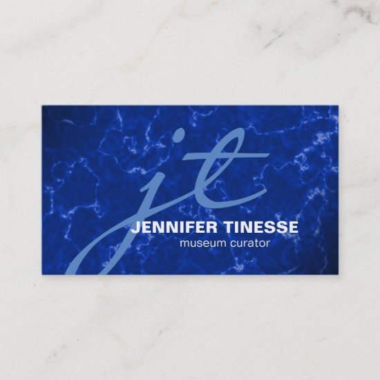 Royal Blue Marble with White Veins Business Card