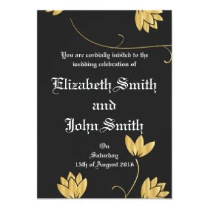 Royal Golden Flowers 5x7 Paper Invitation Card