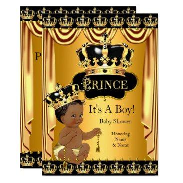 Royal Prince Baby Shower Black Gold Ethnic Boy Invitation