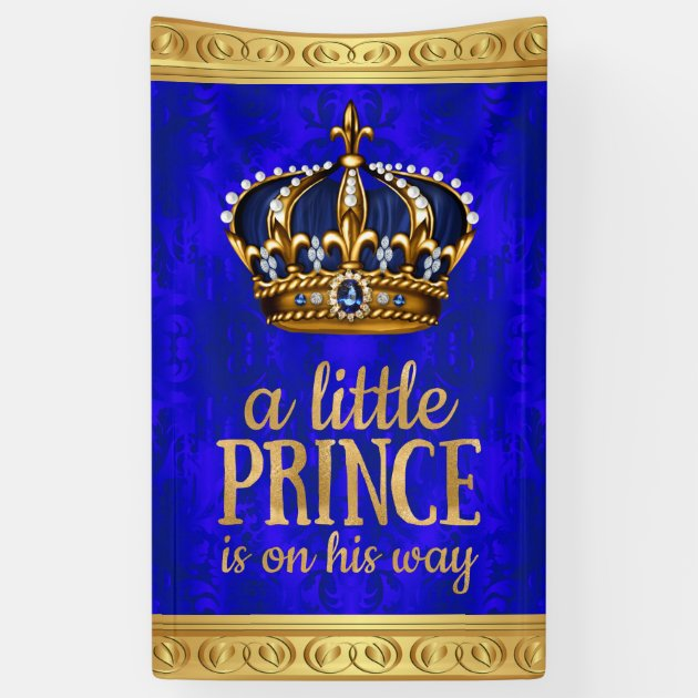 Royal Prince Crown Boy Prince Baby Shower Banner