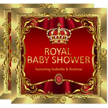 Royal Prince or Princess Baby Shower Red Gold Card