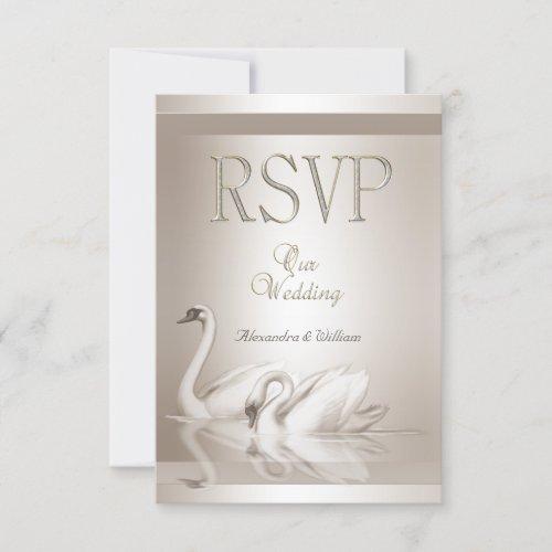 RSVP Elegant Wedding Swans Damask Cream White