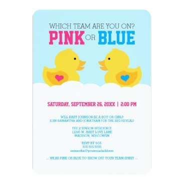 Rubber Ducky Pink or Blue Gender Reveal Party Card