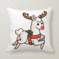 Rudolph the Red-Nosed Llama Throw Pillow