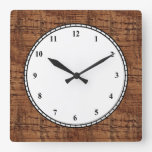 Rugged Chestnut Wood Grain Look Square Wall Clocks