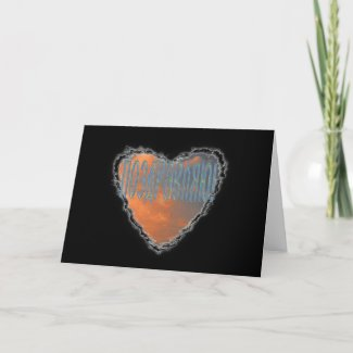 Russian Heart in the Clouds congratulation card