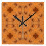 Rust-Mandala, Colors of Rust_843_2 Square Wall Clock