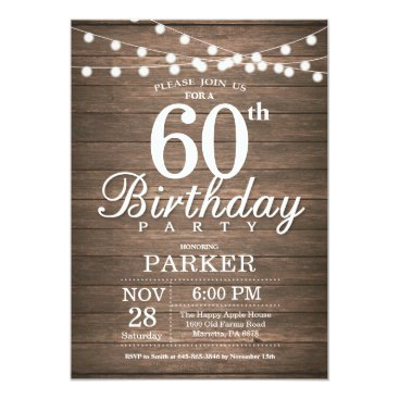 Rustic 60th Birthday Invitation String Lights Wood