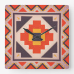 Rustic abstract design square wallclock
