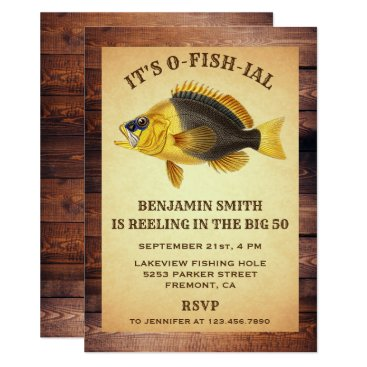 Rustic Adult Fishing Birthday Party Invitation