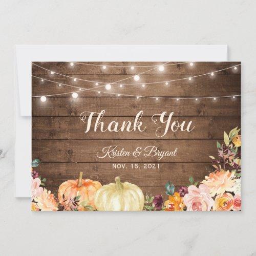 Rustic Autumn Pumpkins Floral String Lights Thank You Card