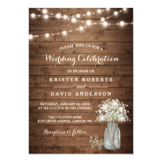 Rustic Baby 39 S Breath Mason Jar Lights Wedding Card