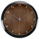 Rustic Bamboo Wood Grain Texture Look Aquarium Clocks