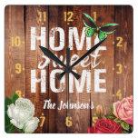 "Rustic barn dark wood ""Home Sweet Home"" design, Square Wall Clock"