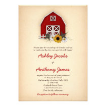 Rustic Barn Farm Country Sunflower Daisy Wedding Personalized Invite