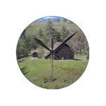 Rustic Barn Round Wall Clocks