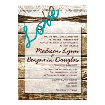 String Lights Rustic Wedding Invitation
