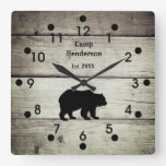 Rustic Bear Camp Acrylic Clock