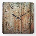 Rustic Beautiful Wood Texture Square Wall Clocks