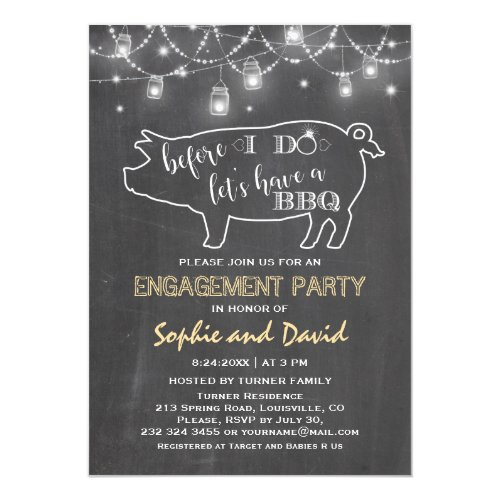 Rustic Before I DO'S Chalk Engagement Party Invitation
