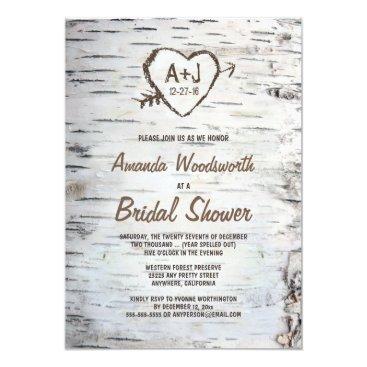 Rustic Birch Tree Bark Bridal Shower Invitations
