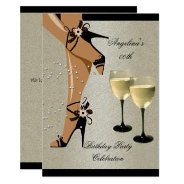 Rustic Black Shoes Wine Glass Birthday Party Card