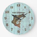 Rustic Blue Board Fishing Cabin Large Clock