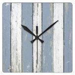 Rustic Blue Driftwood Wall Clocks