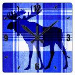 Rustic blue plaid moose wall clock