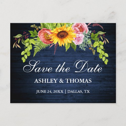 Rustic Blue Wood Sunflower Floral Save The Date Invitation Postcard