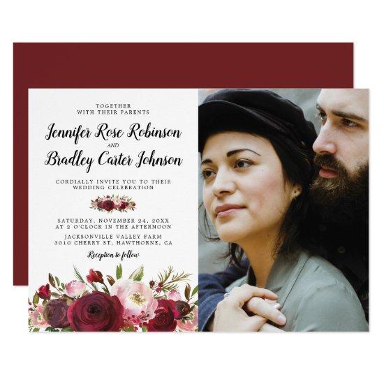 Rustic Blush Burgundy Flowers Photo Wedding Invitation
