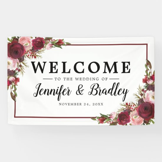Rustic Blush Burgundy Flowers Wedding Banner