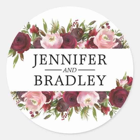 Rustic Blush Burgundy Flowers Wedding Classic Round Sticker
