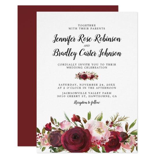 Rustic Blush Burgundy Flowers Wedding Invitation