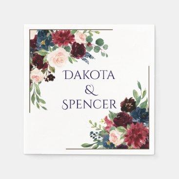 Rustic Boho Floral | Chic Moody Navy Blue Wedding Paper Napkin