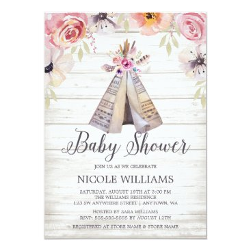 Rustic Boho Tribal Teepee Girl Baby Shower Invitation