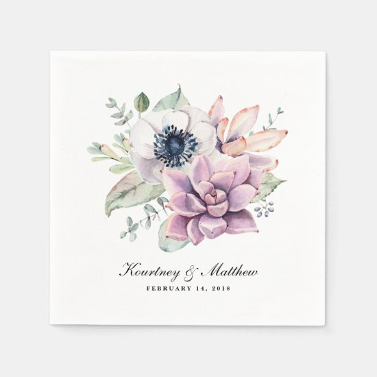Rustic Boho Watercolor Succulent Floral Paper Napkins