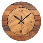 Rustic brown faux wood planks large clock