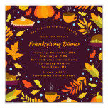 Rustic Brown Friendsgiving Feast Dinner Party Invitation