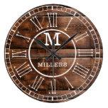 Rustic Brown Wood Family Name Monogram Large Clock