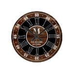 Rustic Brown Wood Pallet Roman Numeral Monogram Round Clock