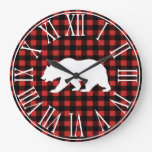 Rustic Buffalo Check Plaid & White Bear Silhouette Large Clock