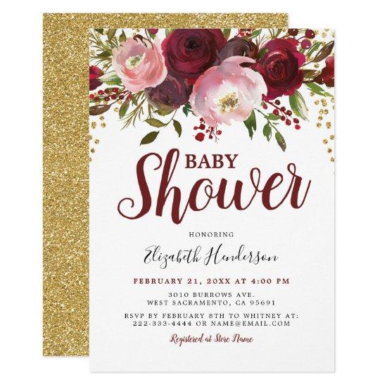 Rustic Burgundy Blush Floral Glitter Baby Shower Invitation