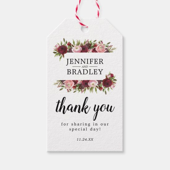 Rustic Burgundy Blush Floral Wedding Favor Gift Tags