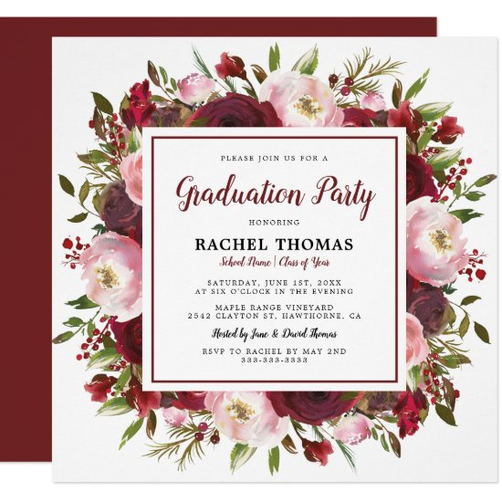 Rustic Burgundy Floral Graduation Party Invitation