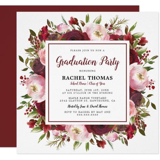 Rustic Burgundy Floral Graduation Party Invitation