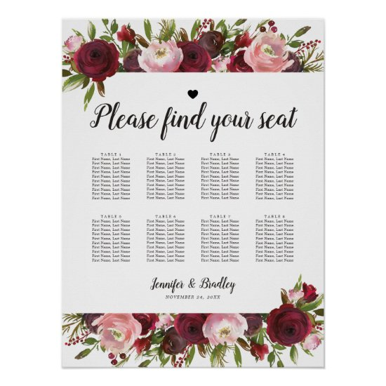 Rustic Burgundy Floral Wedding 8 Table Chart