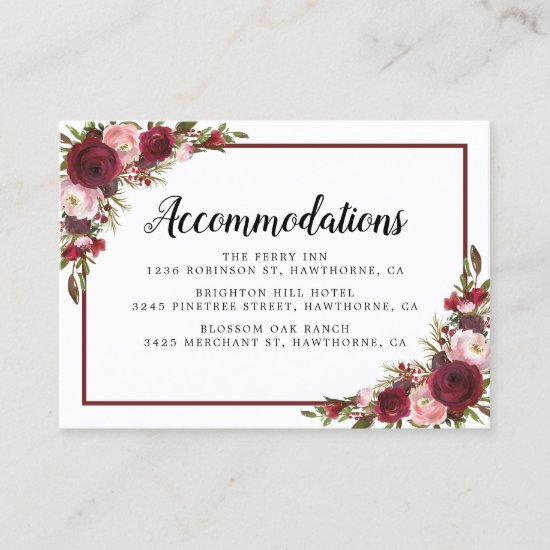 Rustic Burgundy Floral Wedding Hotel Accommodation Business Card