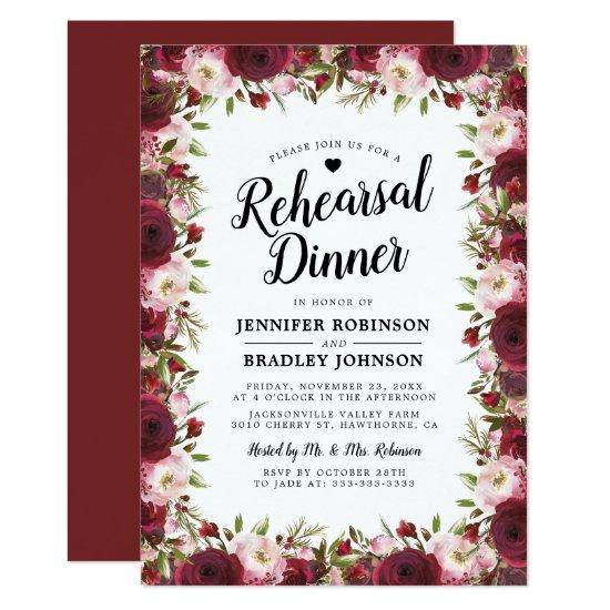 Rustic  Burgundy Flowers Wedding Rehearsal Dinner Invitation
