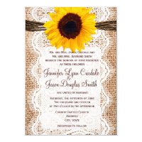 Rustic Burlap Lace Twine Sunflower Wedding Invites